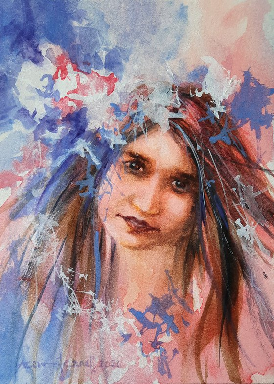 Bohemian Girl - original watercolour portrait