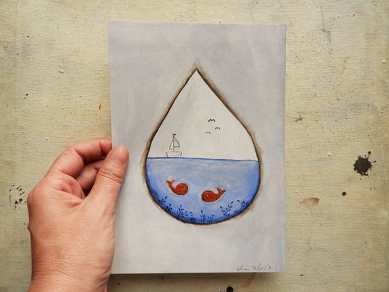 The sea inside the raindrop #2 - oil on paper