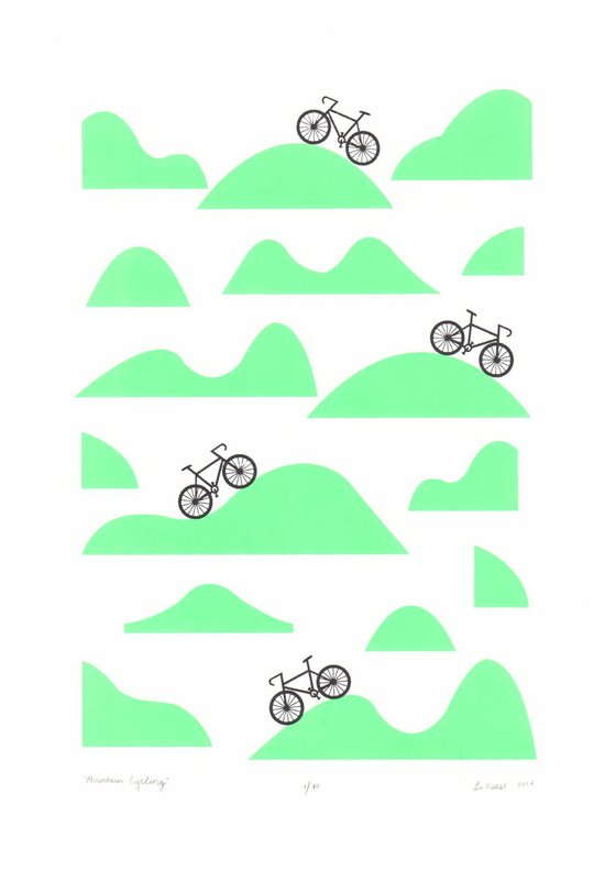 Mountain Cycling Screen Print A3 size in Retro Mint- Unframed - FREE Worldwide Delivery