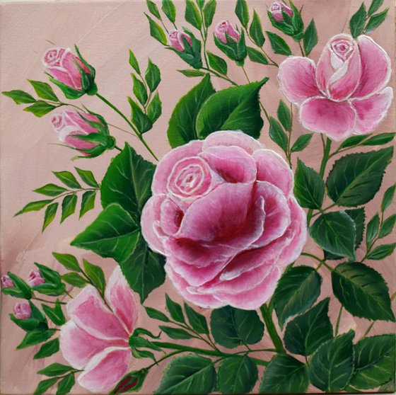 """""""Roses"""" 30 X 30 cm/ ready to hang/Acrylic painting"""