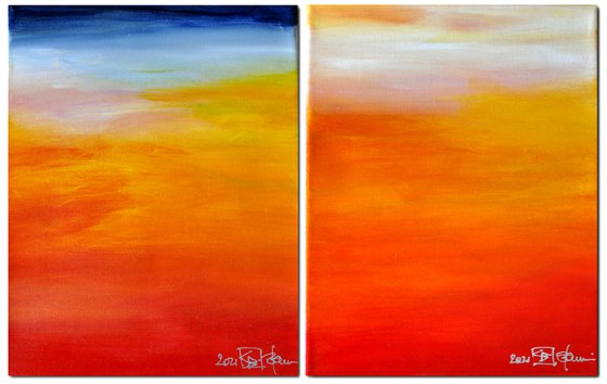 AT THE BEACH  (diptych)
