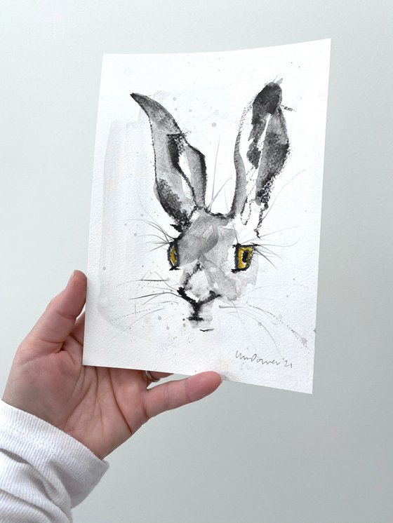 Watchful Hare #07 - charcoal and Ink wash drawing on paper - A5 148mm x 210mm