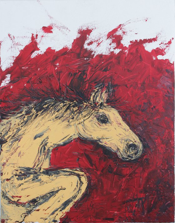 Horse Painting - 2 - Equine Series - horse acrylic painting on stretched canvas - impasto-palette knife painting