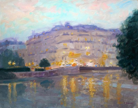 Paris at dusk looking over the river Seine, impressionist oil painting