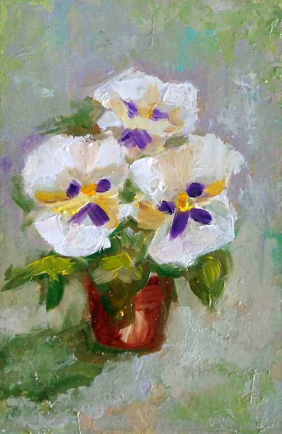 The pansies, Bouquet of Violets Painting Original Art Small Flower Artwork Floral Wall Art