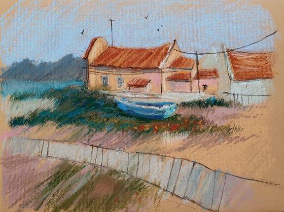 River and boats. Portuguese village
