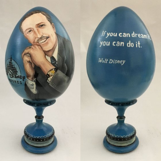 Portrait and quote of Walt Disney. Lacquered art painted on wooden egg