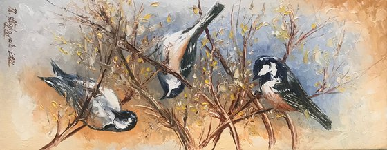 Three sparrow (19x47cm, oil painting, ready to hang)