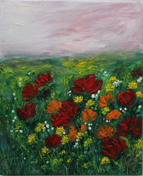 Paradise Found - Floral landscape oil painting on canvas- wild flowers and poppies - palette knife - textured - impressionistic artwork - impasto painting - floral meadow - home decor - gift art - affordable landscape painting