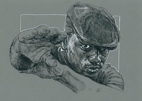 Black man portrait. Ink drawing on paper