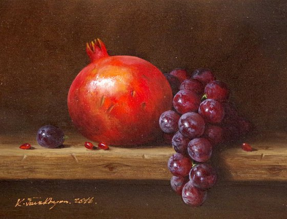 Still Life, Fruits, Pomegranate, Original oil Painting, Classic Art, Handmade painting, One of a Kind