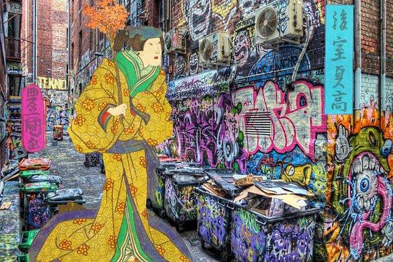 Japan Japanese Print Geisha graffiti