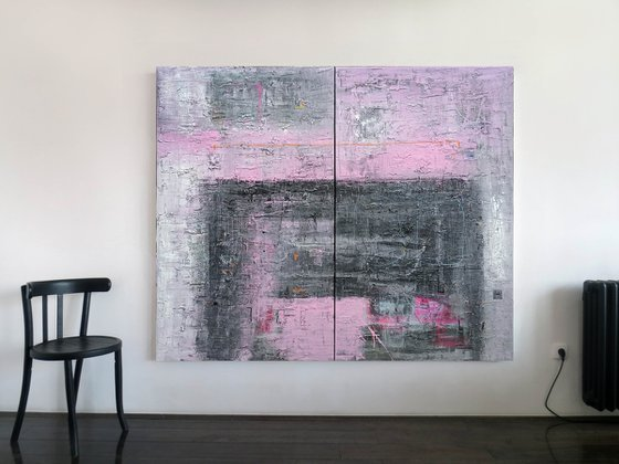 A134 diptych (Contemporary abstract Spiritual Architecture Landscape Acrylic on canvas Large wall art Painting Series)