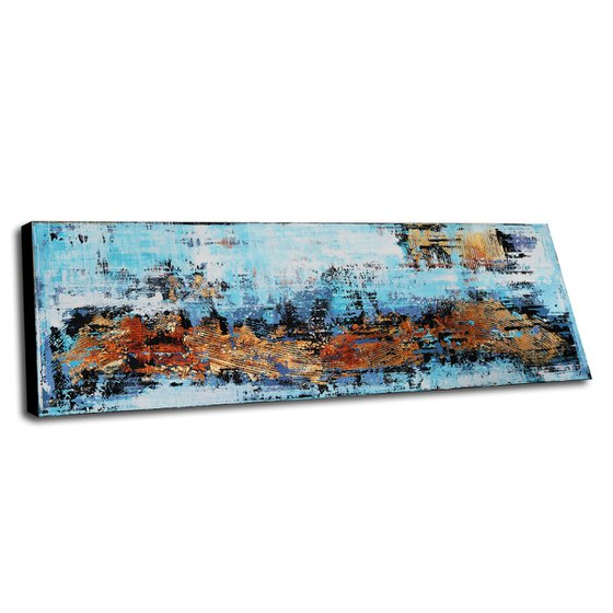 """AT THE OCEAN * 71"""" x 23.6"""" * ABSTRACT ACRYLIC PAINTING ON CANVAS *** BLUE * WHITE * GOLD"""
