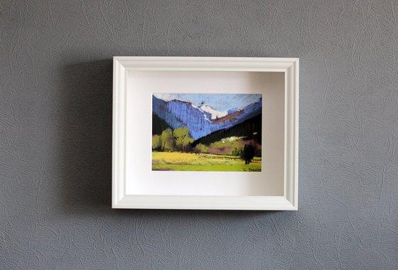 Mountains pastel original painting 13x18. Christmas gift