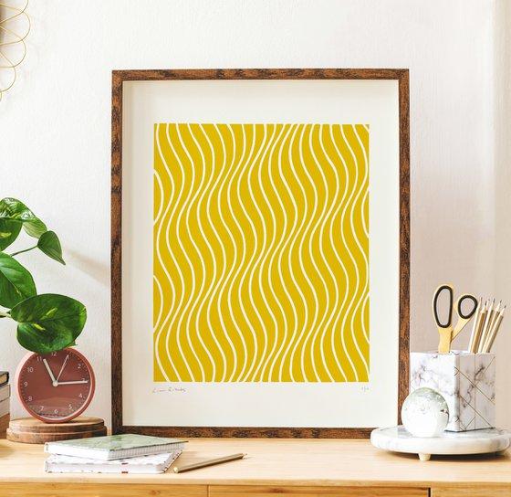 Rippling (Yellow Geometric Linocut Print)