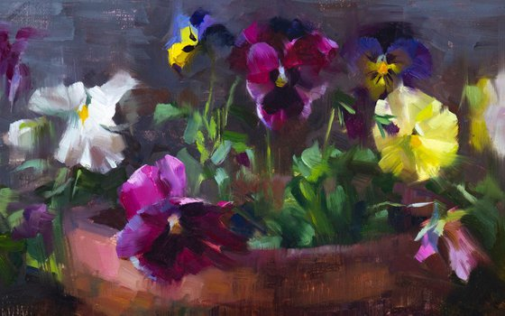 'Pansies' - original oil painting, alla prima oil painting, one of a kind