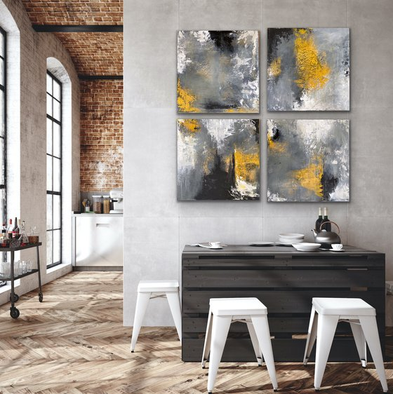 Winter Sun - XL Size - Square - Compositions -Abstract Painting