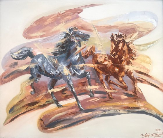 Horses (60x70cm, oil painting, ready to hang)