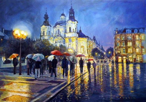 Prague Old Town Square view of street Parizska and St.Nicolas church
