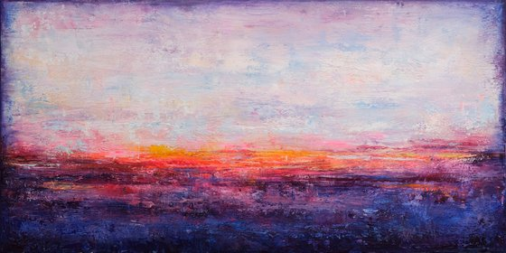 """Abstract Sunset Landscape VI, 100x50 cm - 39""""x20"""", original abstract painting, Ready to hang"""