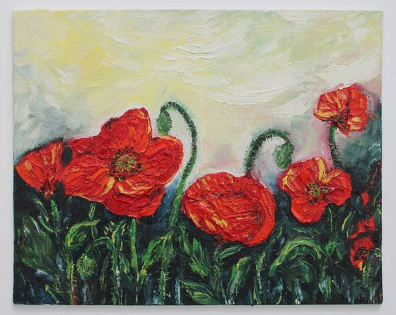 World of Happiness - Poppy landscape painting - Oil on canvas board