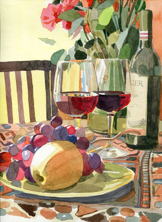 Still-life with wine and fruits