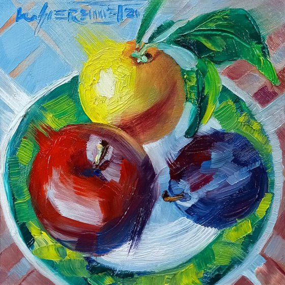 Fruits Still Life Original Oil Painting on Wood Panel, Ready to Hang, Apple, Plum and Orange Small Painting, Daily Painting Miniature, Kitchen Wall Art