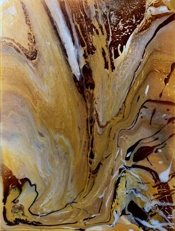 """""""Sandy beach"""" - Acrylic painting , 40 X 30 cm (Ready to hang) - abstract, abstraction , gold , sandy , yellow , creative , for interior , gift idea"""