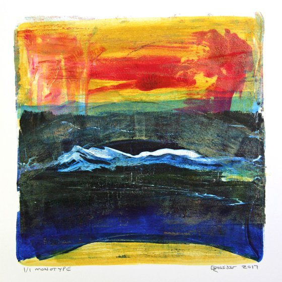 Sunset in the Hills - Acrylic & Ink Monotype on Paper Unframed