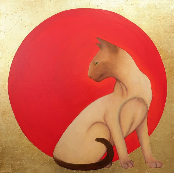 Oriental cat. Oil painting with gold leaf