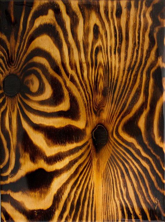 Myela 40x30x3cm Unique Wood Burning Artwork And Epoxy Resin Abstract Fire Sculpture Original Epoxy Burning Wood