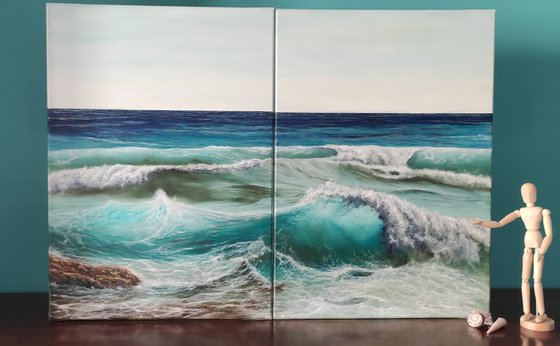 Two of us - stunning wave diptych painting
