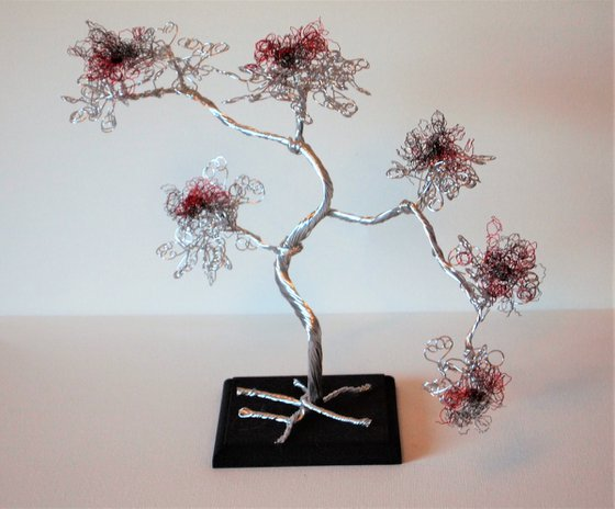 Silver, Red & Grey Wire, Bonsai Tree Sculpture