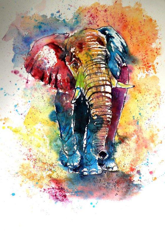 Funny elephant (76 x 56 cm)