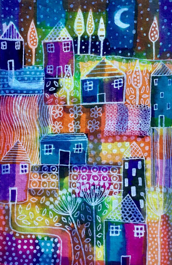 Patchwork Patterns , small watercolour painting