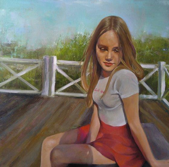 Varvara 60x60cm ,oil/canvas, impressionistic figure
