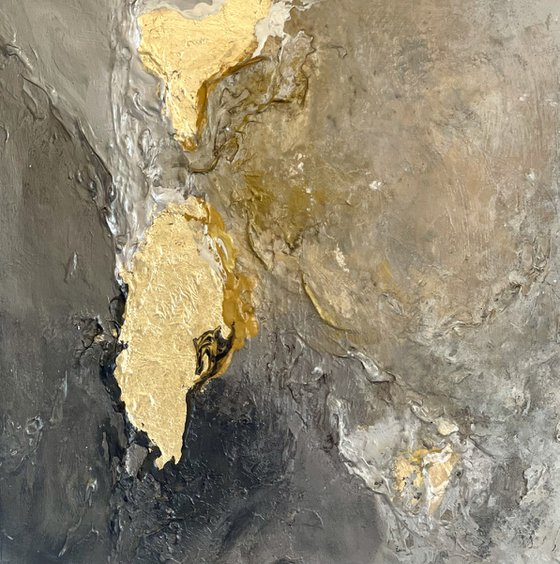 Poetic Landscape - Original painting - Black - Gold - Silver