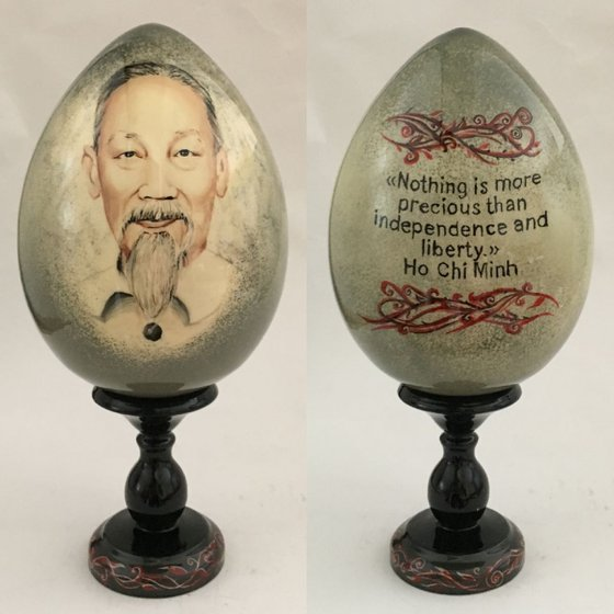 Portrait and quote of Ho Chi Minh. Lacquered art painted on wooden egg.