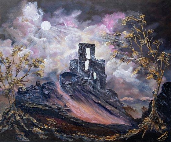 Moonlight over Corfe Castle