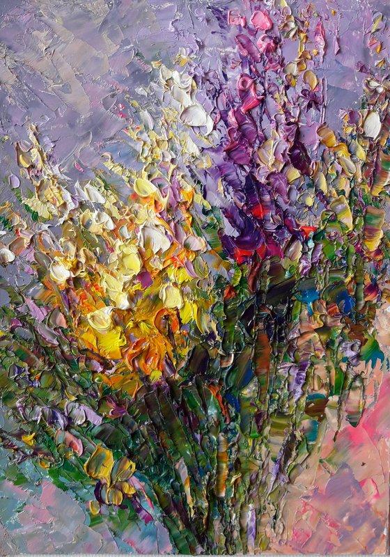 Bouquet Flowers, Painting Floral, Original Art Flowers Impasto Floral Painting Abstract Art Gift by Kseniya Kovalenko