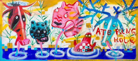 Animals at the watering hole 80 x 180 cm / 31,49 x 70,86 inch