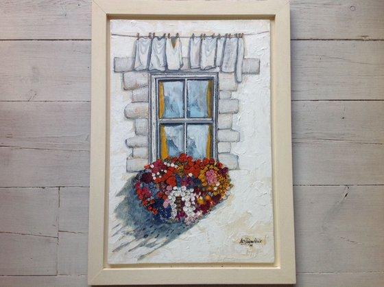 Cottage window on washing day