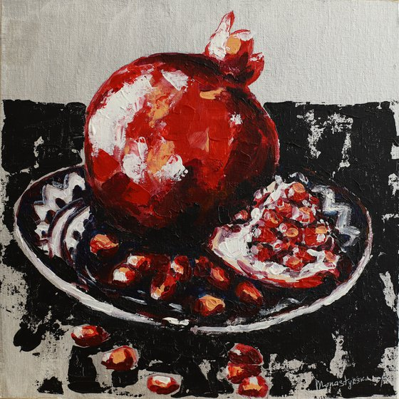 Garnet (25x25 cm) acrylic painting on canvas