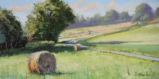 Hay Bales- original plein air oil painting