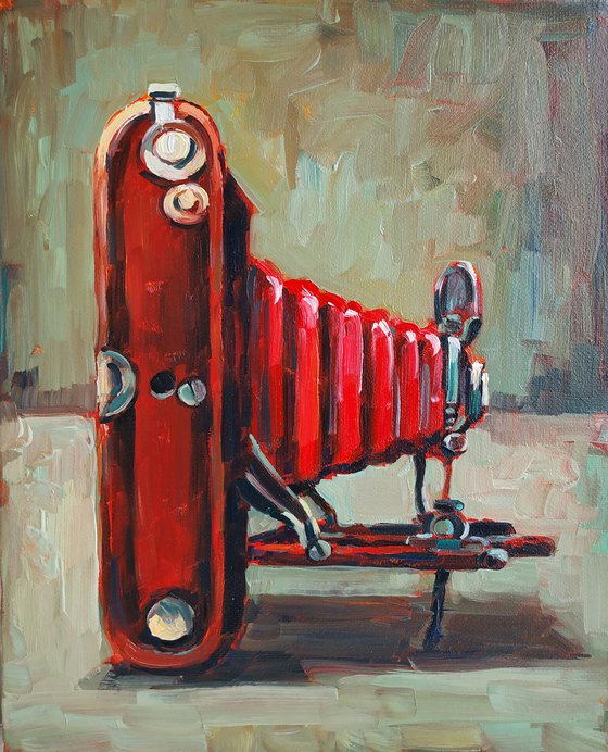 Retro pictures series -5  Old camera(24x30cm, oil painting, ready to hang)