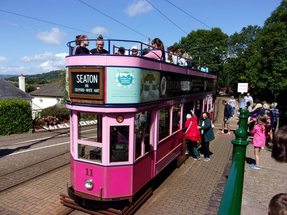 Pink tram at Seaton, Devon