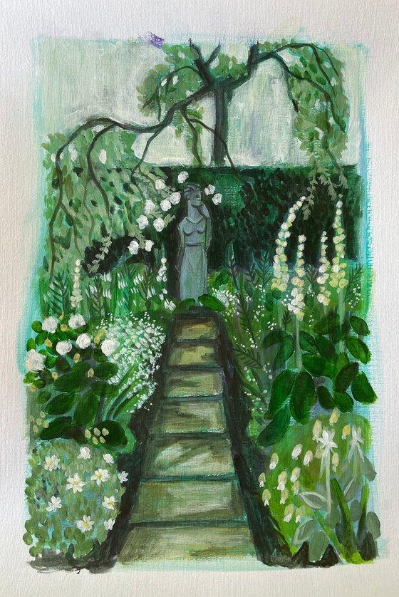 White Garden Statue