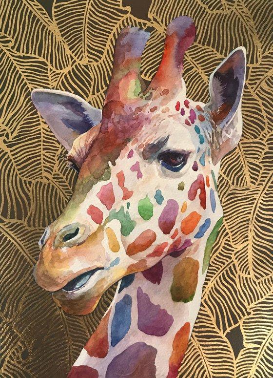 Giraffe on gold