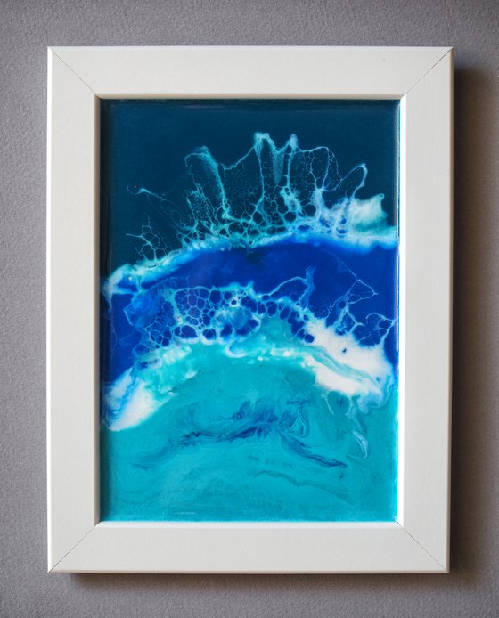 Blue wave - original seascape resin artwork, framed, ready to hang